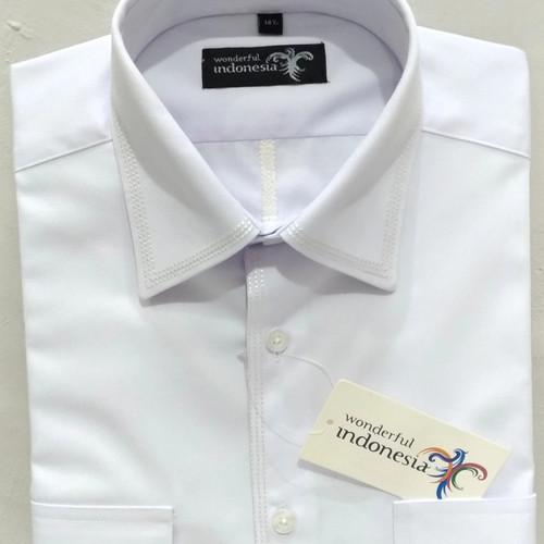 Foto Produk Kemeja Pria Putih Pendek Darren Reguler Non Pangkat Kantong Dua Bordir - Putih, M dari Mega Hero Shirts
