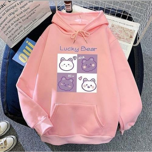 Foto Produk Jaket Anak Sweater Anak Hoodie Anak Perempuan LUCKY BEAR 6 - 10 Tahun - Pink dari Yanathan Kids Store