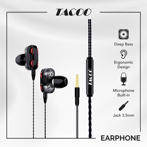 Foto Produk TACOO Earphone In-Ear Earbuds HIFI Suara Jernih dengan Mikrofon dari TACOO Official Store