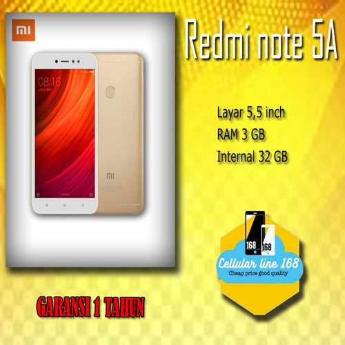 Foto Produk Xiaomi Redmi Note 5A Ram 3GB Rom 32GB GB Garansi 1 Tahun dari cellularline168