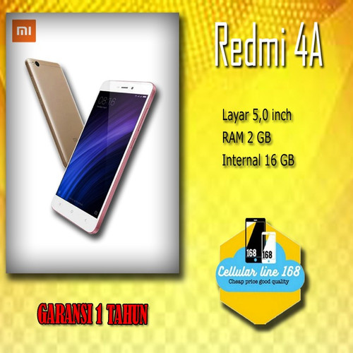 Foto Produk Xiaomi Redmi 4a RAM 2GB Internal 16GB Garansi Distributor 1 Tahun dari cellularline168