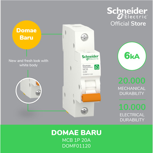 Foto Produk Schneider Electric NEW DOMAE MCB 20A 1P - DOMF01120 dari Schneider Electric Home