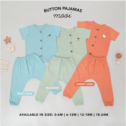 Foto Produk Setelan bayi short sleeve button pajamas Mooi - 0-6 MONTHS, SUNSET CORAL dari Mooi Official