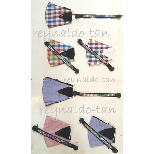 Foto Produk 12 Pcs Masker Hijab Kain Motif Kotak 2 ply + Konektor Kancing dari reynaldo-tan