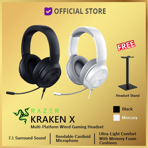 Foto Produk Razer Kraken X Mercury Black Multi Platform Gaming Headset - Black, Headset Only dari DUNIA COMPUTER & SERVICE