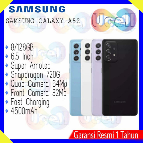 Foto Produk Samsung Galaxy A52 - 8/128GB , 8/256GB - Garansi Resmi - Hitam, 8/128GB dari ucell cempaka