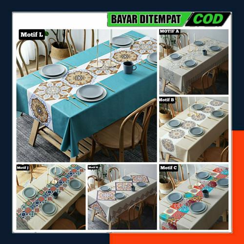 Foto Produk Premium PVC Table Cloth/Taplak Meja Makan Waterproof Tahan Air 140x180 - MOTIF RANDOM dari Eljida Store