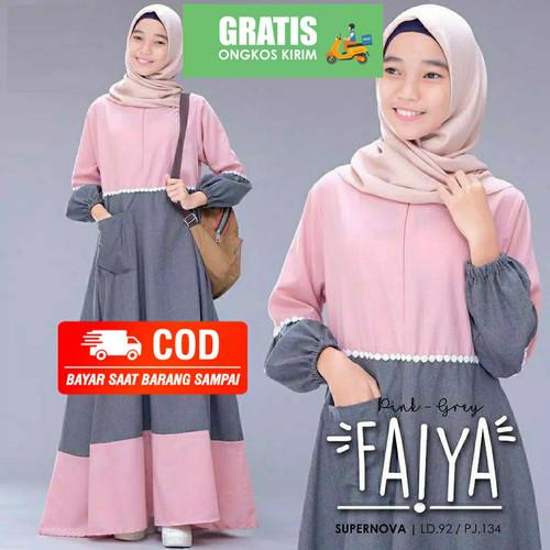 Foto Produk Baju gamis wanita Remaja tanggung Dress anak 12 tahun Busana muslim - Pink-Grey, M LD 80 TB 100 dari KAMILA OUTFIT 48