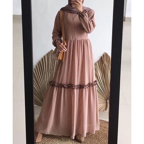 Foto Produk Baju Gamis Dress Wanita Muslimah Remaja Kekinian Rempel Febrina - Cokelat dari AzD Style