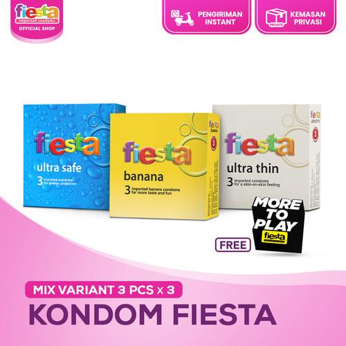 Foto Produk Kondom Fiesta Mix Variant - 3 Pcs x 3 (Free Sticker) dari Sutra Fiesta Shop
