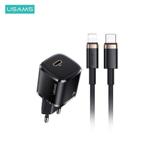 Foto Produk USAMS SuperCube Mini Fast Charger +Kabel Data Type C to Lightning 20W - Hitam dari USAMS ID Official