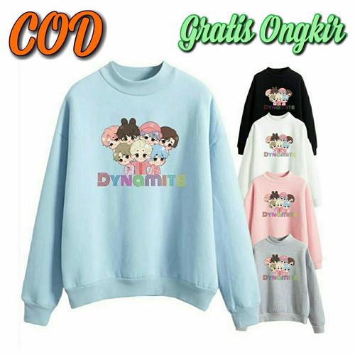 Foto Produk Baju Sweater Jumper Anak Perempuan Laki BT21 Bts Dynamite Kekinian - Biru Langit, XL (6-7 tahun) dari Hidayahin