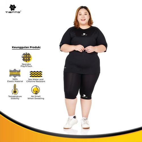 Foto Produk Tiento Baselayer Baju Celana Half Pants Black White Women Jumbo 1set - 4XL dari TIENTO