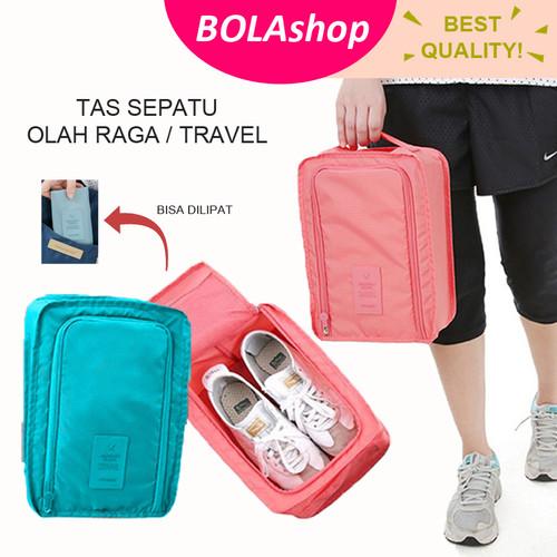 Foto Produk Tas Penyimpanan Sepatu Sporty ada Resleting - Pink dari Bolashop Official Store