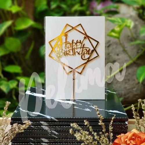 Foto Produk cake topper happy birthday / hiasan kue ulang tahun akrilik 15 x 7 cm - 04-gold dari Bingke Delima