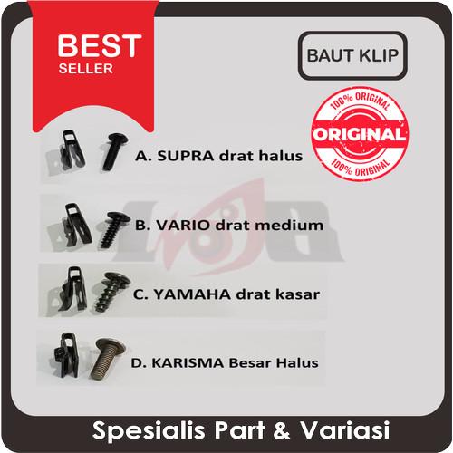 Foto Produk Baut Klip Bodi Motor Yamaha Baut M5 Drat Kasar Hitam Klem Honda Kleman dari Ledeng Motor Bandung