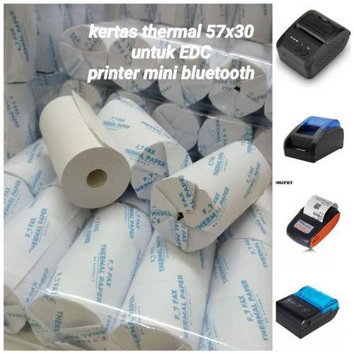 Foto Produk Kertas Struk Kasir Paper Roll EDC Thermal Printer Bluetooth 58x30 - Biru dari faeyza_7 kertas thermal
