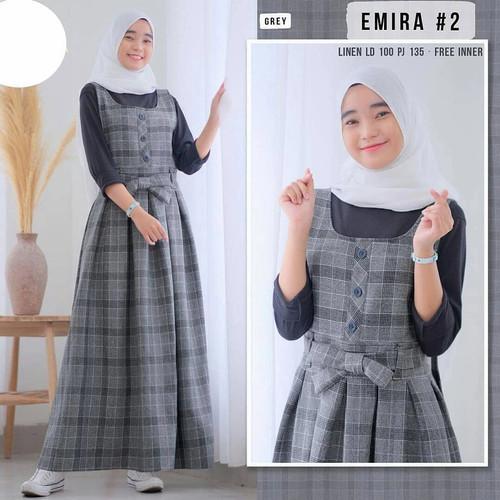 Foto Produk Overall Set Wanita Remaja Emira Free Inner Fashion Muslim Baju Wanita - Grey dari Grosir Pakaian Wanita Bandung