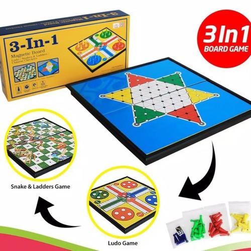 Foto Produk Magnetic Board Game 3 In 1 - Ludo-Halma- Ular Tangga- Mainan Edukatif dari Home Online Toys
