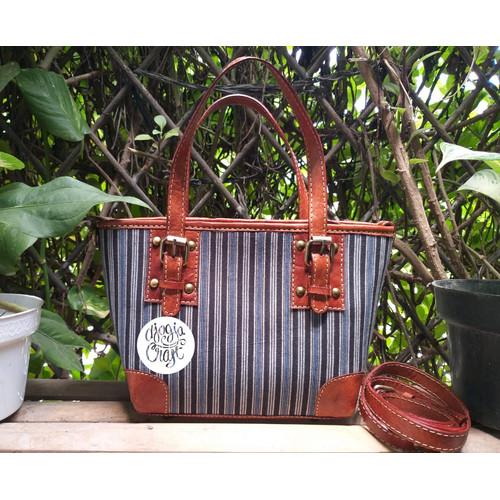 Foto Produk Tas Kulit Fosil Gesper Kain Batik Perca dari Djogja Craft