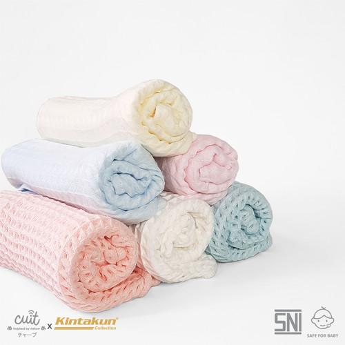 Foto Produk CUIT X KINTAKUN Handuk Bayi Katun Plaid 33 x 72 cm - Light Pink dari Cuit Baby Wear