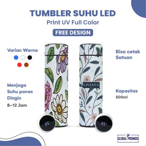 Foto Produk Custom Tumbler Botol Termos LED Suhu Souvenir/Promosi Cetak UV Warna - Putih, Print 3x15 cm dari Global Promosi Official