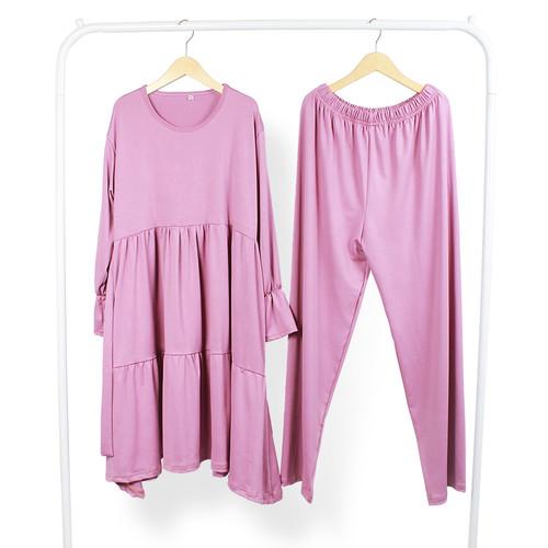 Foto Produk Bajuyuli One Set Setelan Anak Perempuan Polos Muslim Jersey - Dusty Pink, S dari Bajuyuli