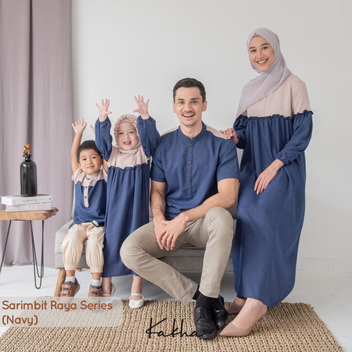 Foto Produk Kakha - Sarimbit Keluarga Raya (Navy-2)/ Baju Couple Keluarga Muslim - Gamis Anak Raya, L dari kakhaofficial