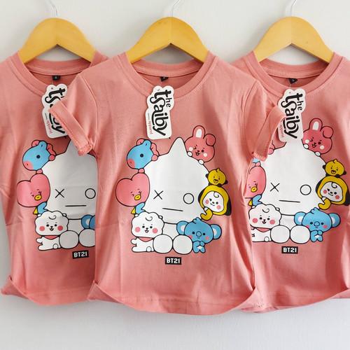 Foto Produk Baju Anak Perempuan Kaos BT21 Korean Stlye Usia 1 sampai 8 Tahun - S dari kimmi_kidswear