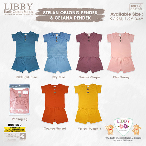 Foto Produk LIBBY EARTH SERIES Stelan Oblong Pendek - Celana Pendek (1stel/pack) - Pink Peony, 9-12 M dari Libby Baby Official Shop