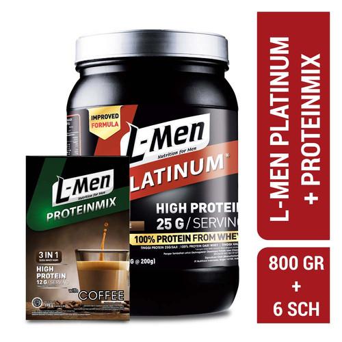 Foto Produk L-Men Platinum Choco Latte 800gr + L-Men Proteinmix Coffee (6 Sch) dari NutriMart
