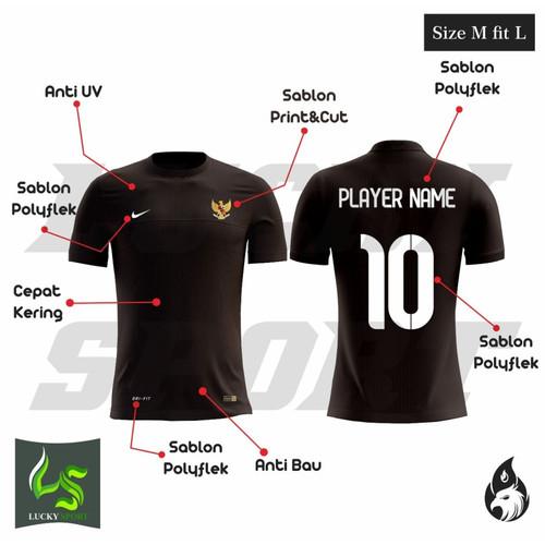 Foto Produk PAKAI NOMOR + NAMA Kaos olahraga Jersey baju bola baju futsal timnas - Hitam, M dari oxsport shop