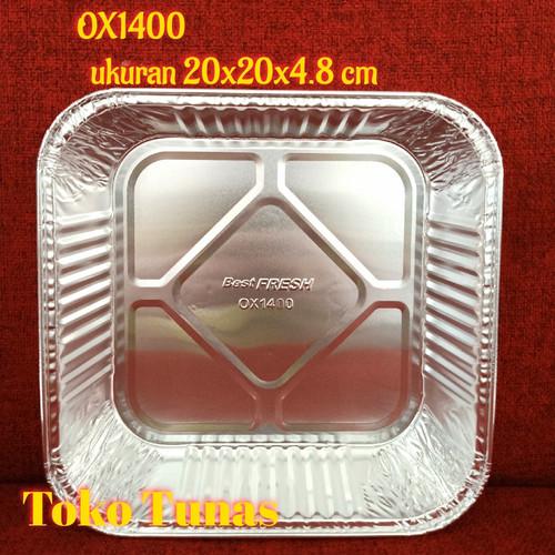 "Foto Produk Loyang /tray Alumunium foil OX1400 1400- ukuran 20x20 cm ""Best Fresh"" dari Toko Tunas"