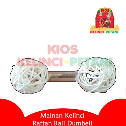 Foto Produk Mainan Kelinci Rattan Ball Dumbell For Rabbits Cavy Small Animals dari Kelinci Petani