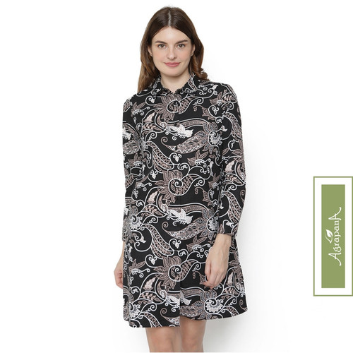 Foto Produk Agrapana Dress Batik Modern Wanita Baju Batik Couple Tunik Rajata - Hitam, S dari Agrapana Batik