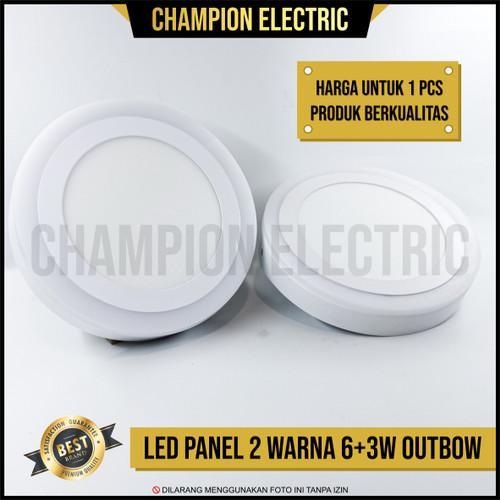 Foto Produk Lampu Downlight LED Panel 2 Warna Cahaya 6W+3 Watt Outbow Bulat dari Champion Electric