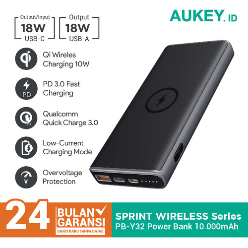 Foto Produk Aukey Powerbank PB-Y32 10000mAh Wireless Charging with PD&QC - 500437 dari AUKEY