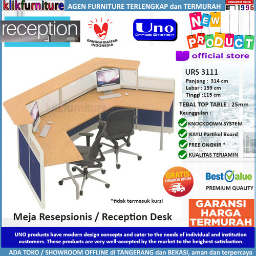 Foto Produk URS 3111 UNO Meja Resepsionis Meja Kasir Partisi Reception 2 Staff dari klikfurniture