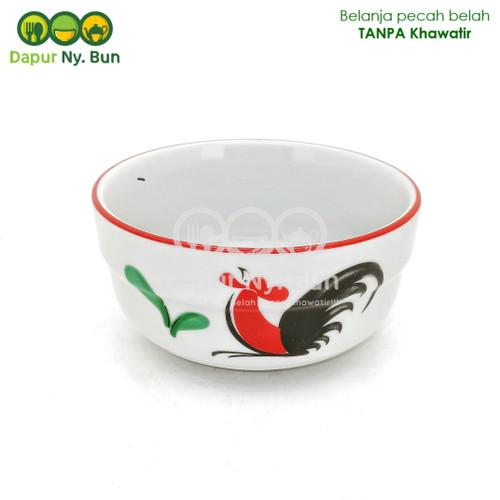 Foto Produk Mangkok Nasi Kecil STACKABLE Motif Ayam Jago Seri 2 Ukuran 4 Inch dari Dapur Ny.Bun