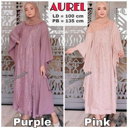 Foto Produk Baju Muslim Dress Gamis Brukat Wanita Pesta Casual Lebaran Murah Bagus - Maroon, AUREL dari Ribbon Republic