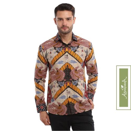 Foto Produk Kemeja Batik Slimfit Pria Lengan Panjang Slim Fit Agrapana Bhamana - Cokelat, S dari Agrapana Batik