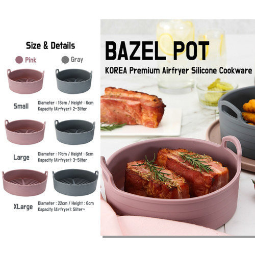 Foto Produk Bazel Pot Air Fryer Sillicone Pot - Alat Masak Silikon untuk Airfyer - Abu-abu, S dari Nowela Kitchen