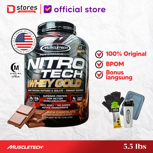 Foto Produk Muscletech Nitrotech Whey Gold 5.5lb Whey Protein Isolate Bstores - Chocolate dari BSTORES