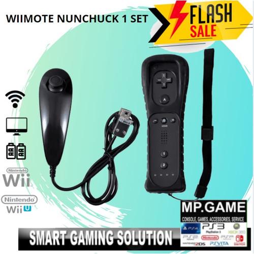 Foto Produk Wiimote (build in motion plus)& Nuchuck Putih 1 set - Hitam dari MPGAME