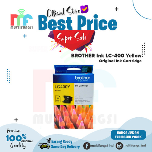 Foto Produk Tinta Brother LC400 Yellow Original LC 400 LC-400 / LC400Y - Yellow dari Multifungsi