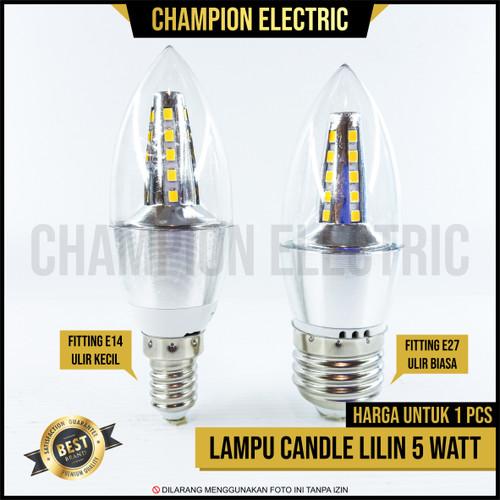 Foto Produk Lampu Hias LED Candle 5 Watt Bohlam Lilin 5W E27 E14 Warm White - Kuning-Warm, e14 dari Champion Electric