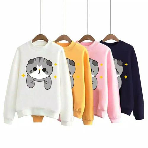 Foto Produk Atasan Anak Remaja Cat Baju Anak Lengan Panjang Kaos Anak Perempuan - Putih dari Gracecoll