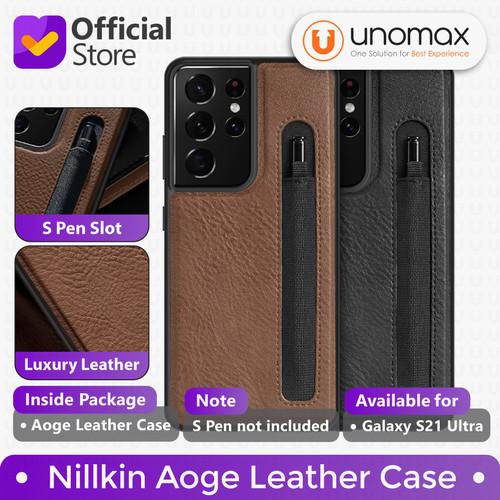 Foto Produk Case Samsung Galaxy S21/Plus/Ultra Nillkin Aoge Leather S Pen Holder - S21 Ultra, Black dari unomax