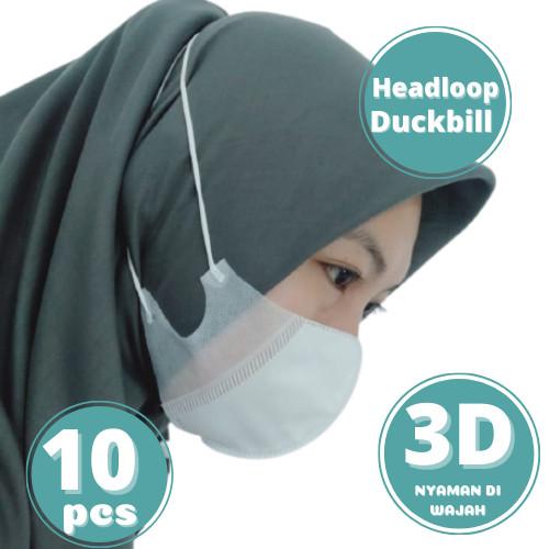Foto Produk Masker 3ply 3 ply duckbill 3D headloop orlee Hijab Kemenkes isi 10pcs - Hitam dari lbagstore