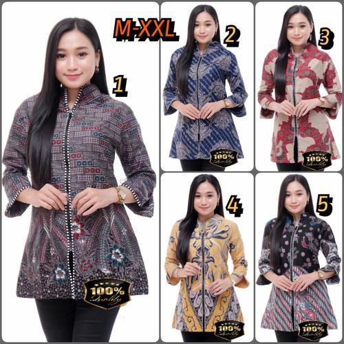 Foto Produk Atasan Blouse Batik Wanita ZIPPER XXL Baju Seragam Kerja Kantor - XXL dari Juragan Batik Official